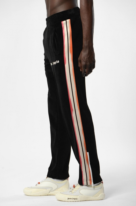 PALM ANGELS Tie-Dye Tape Black Chenille Trackpants 3
