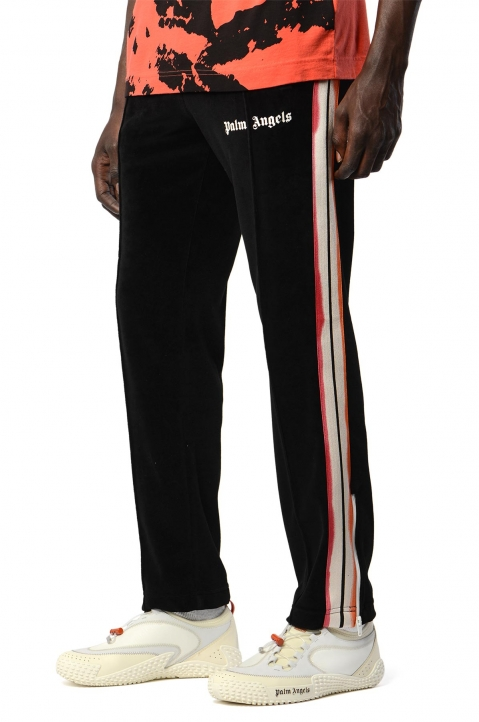 PALM ANGELS Tie-Dye Tape Black Chenille Trackpants 0