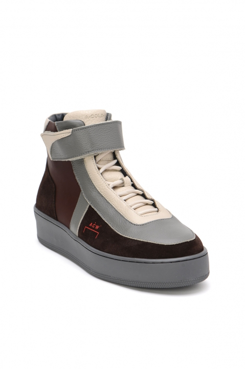 A-COLD-WALL* Hi-Top Brown Leather Sneakers 1