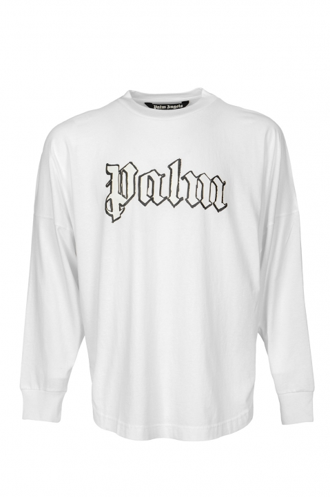 PALM ANGELS Blank Logo White L/S Tee 0
