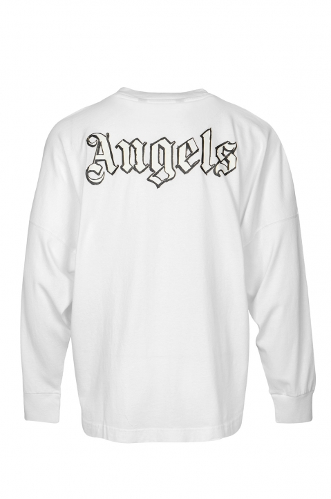 PALM ANGELS Blank Logo White L/S Tee 1