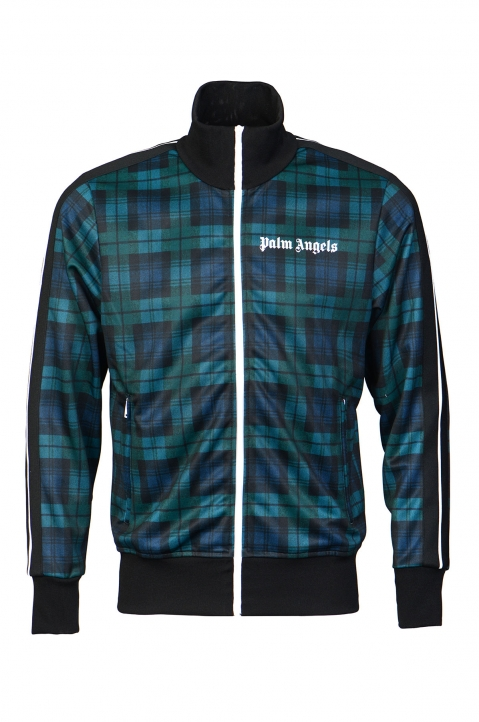 PALM ANGELS Black/Teal Checks Classic Track Jacket  0
