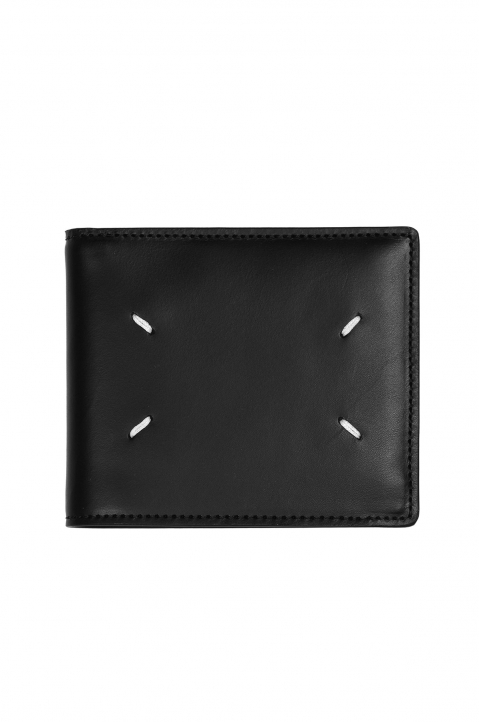 MAISON MARGIELA Smooth Black Leather Wallet 0