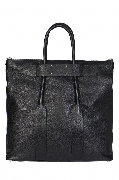 MAISON MARGIELA Large Calfskin Black Leather Bag 0