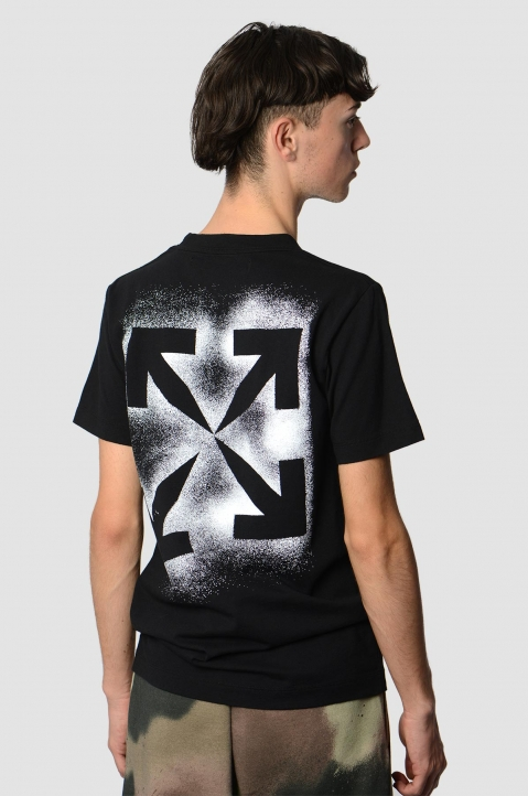 OFF-WHITE Arrows Stencil Black Tee  1