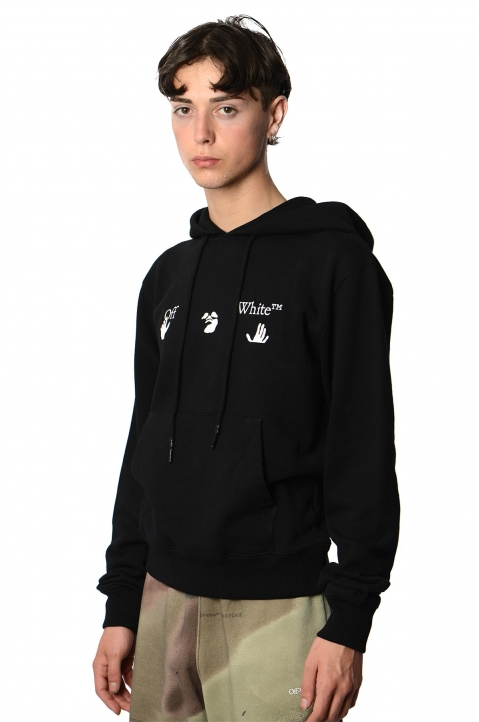 OFF-WHITE Hands Logo Black Hoodie 0