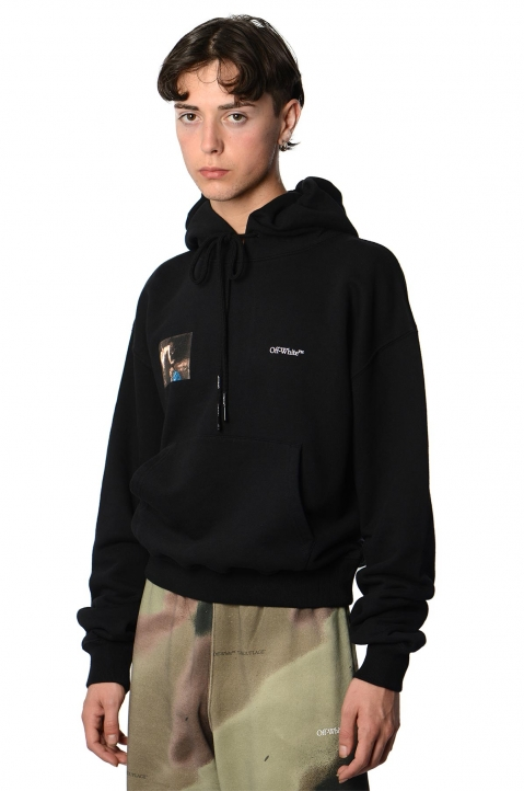 OFF-WHITE Caravaggio Angel Black Crop Hoodie 0