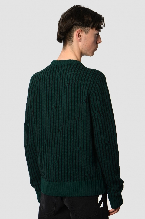 OFF-WHITE Dark Green Cable Sweater 1
