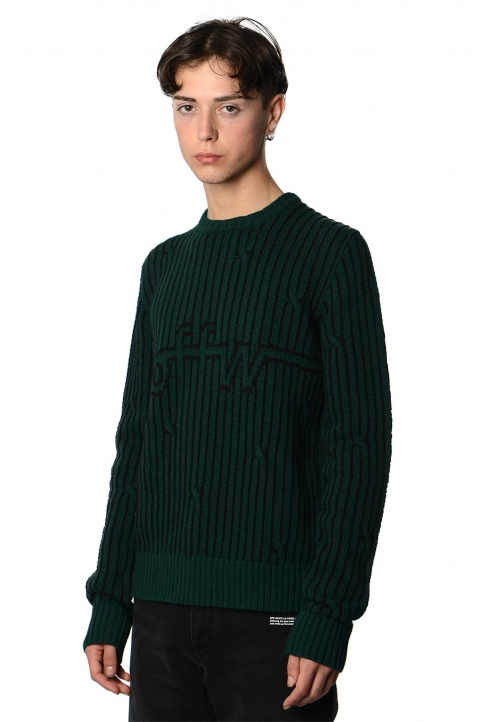 OFF-WHITE Dark Green Cable Sweater 0