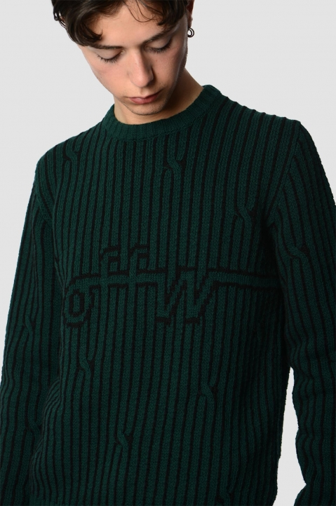 OFF-WHITE Dark Green Cable Sweater 2