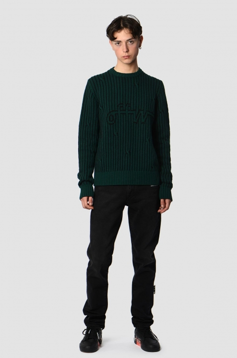 OFF-WHITE Dark Green Cable Sweater 3