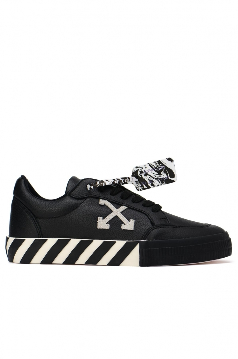 OFF-WHITE Low Black Leather Sneakers 0
