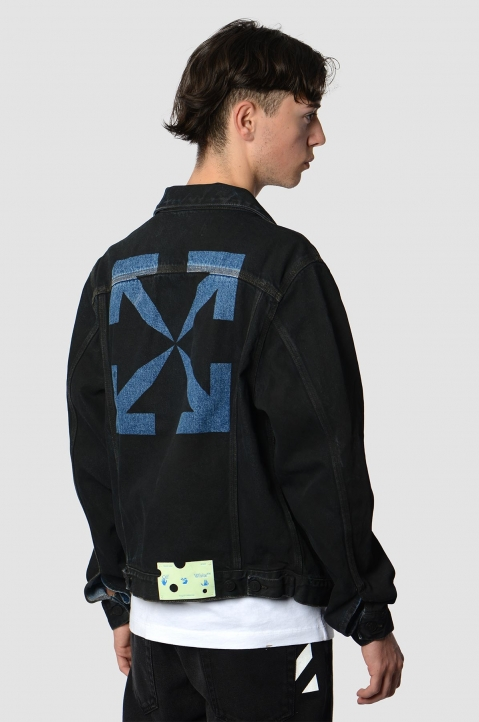 OFF-WHITE Arrows Stencil Black Denim Jacket 1