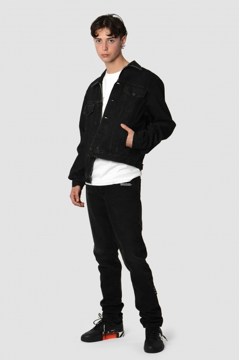 OFF-WHITE Arrows Stencil Black Denim Jacket 4