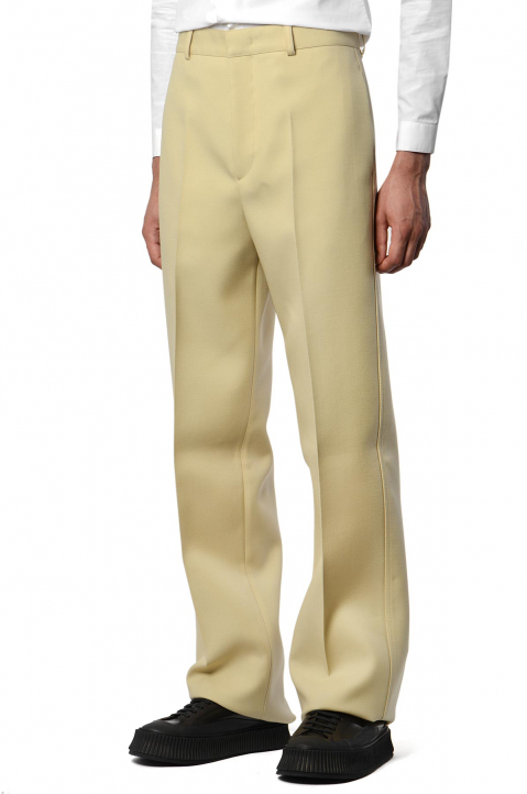 JIL SANDER Beige Turn-Up Trousers  0