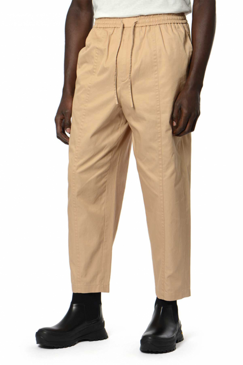 JIL SANDER Tech Hand Cotton Beige Trousers 0