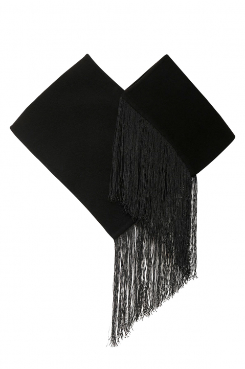 JIL SANDER Black Cashmere Neck Shawl w/ Fringes 0