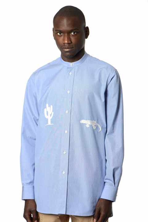 JIL SANDER Relaxed End-On-End Blue Shirt  0