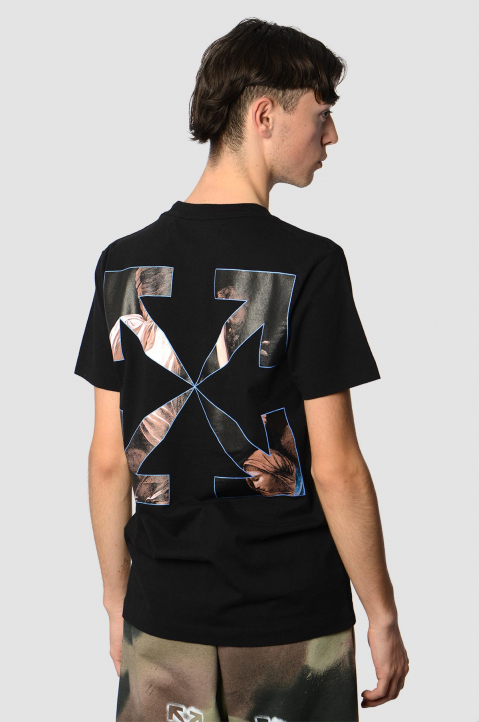 OFF-WHITE Caravaggio Angel Slim Black Tee 1