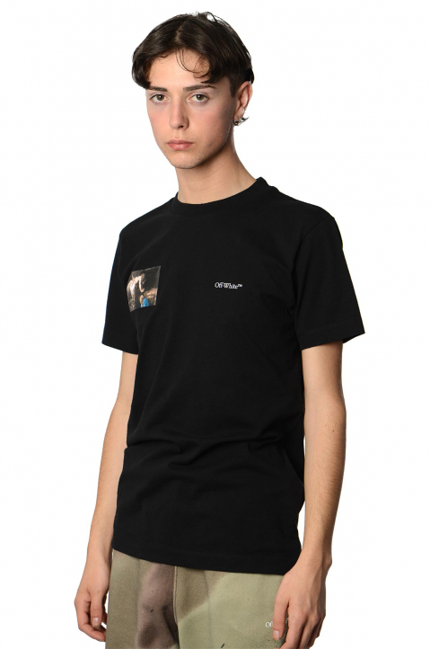 OFF-WHITE Caravaggio Angel Slim Black Tee 0