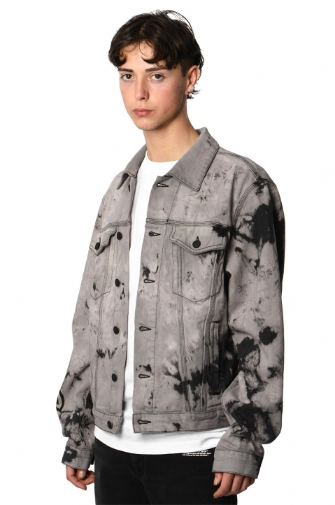 OFF-WHITE Tie Dye Slim Lilac Denim Jacket 0