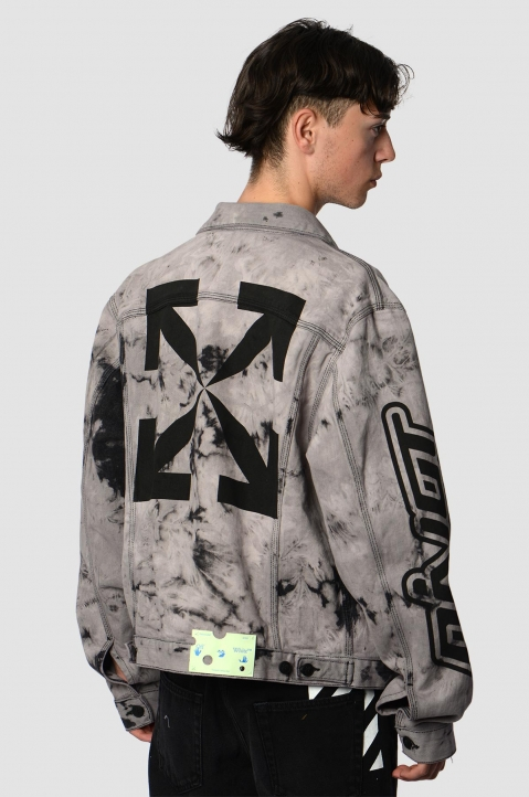 OFF-WHITE Tie Dye Slim Lilac Denim Jacket 2