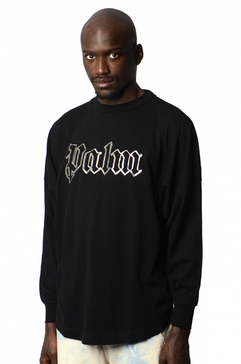 PALM ANGELS Silver Logo Black LS Tee 0