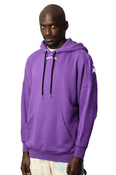 PALM ANGELS Purple Classic Logo Hoodie  0