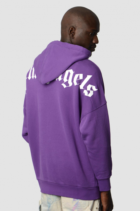 PALM ANGELS Purple Classic Logo Hoodie  1