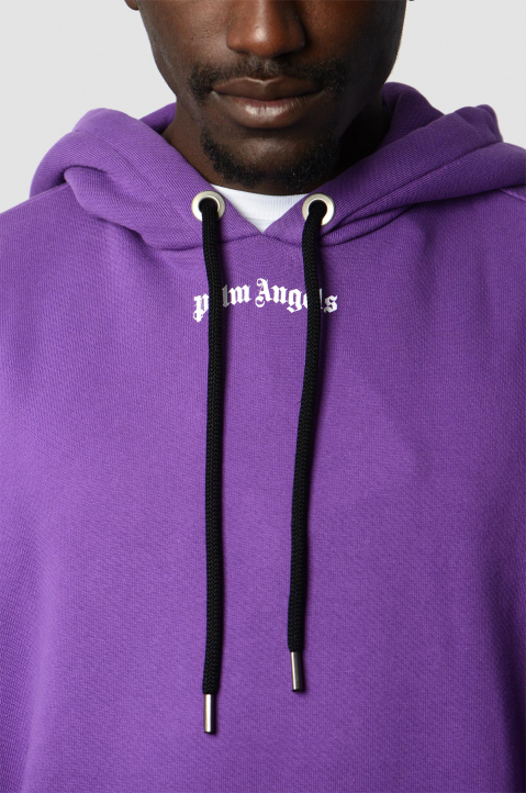 PALM ANGELS Purple Classic Logo Hoodie  2