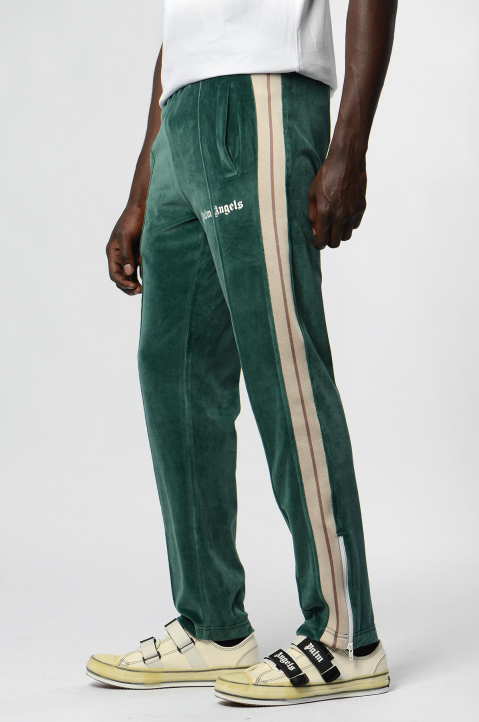 PALM ANGELS Chenille Pine Green Trackpants  2