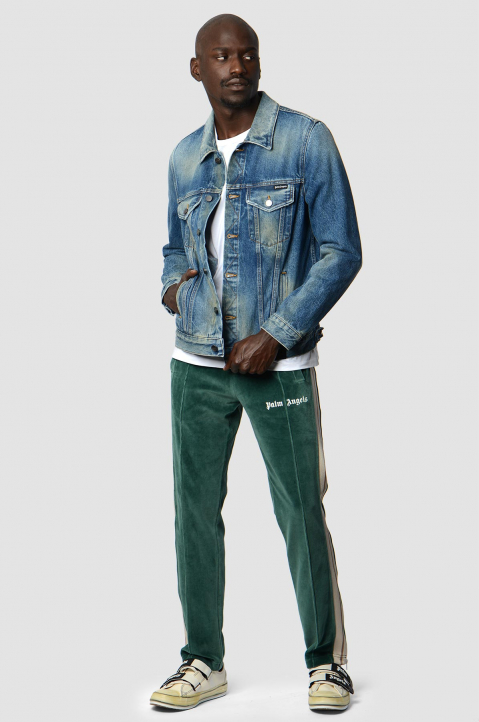 PALM ANGELS Chenille Pine Green Trackpants  3