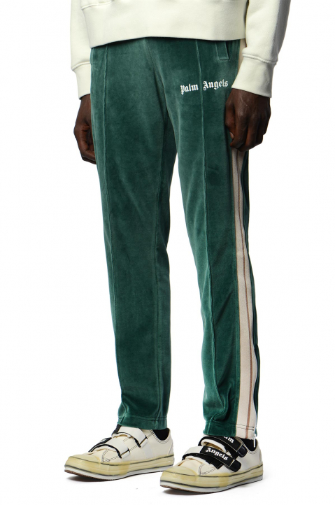 PALM ANGELS Chenille Pine Green Trackpants  0