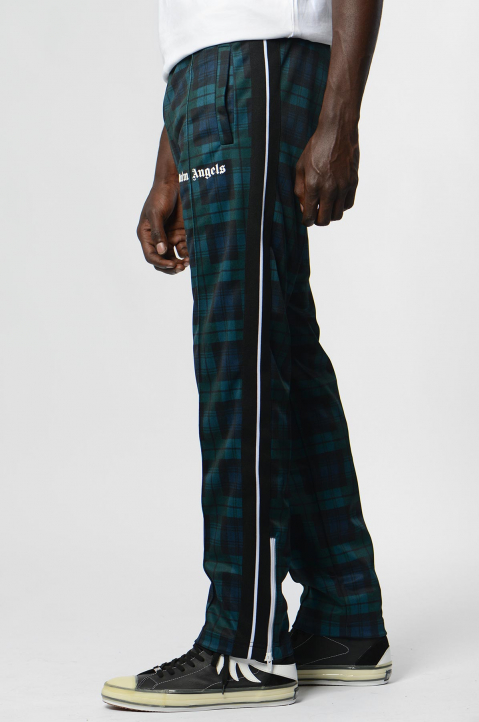 PALM ANGELS Black/Teal Checks Classic Trackpants  1
