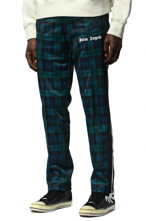 PALM ANGELS Black/Teal Checks Classic Trackpants  0