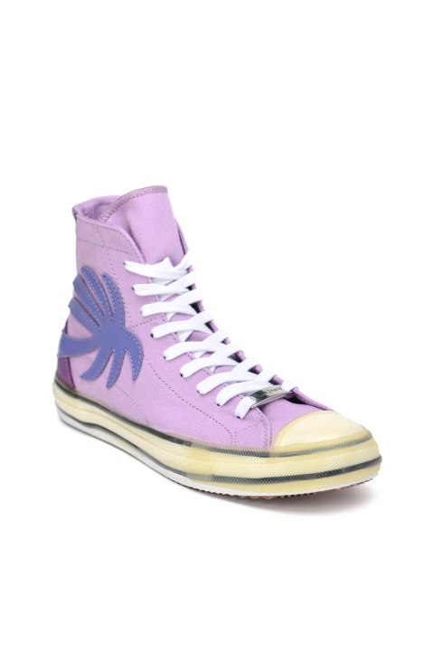 PALM ANGELS Palm Purple Vulcanized Hi Top Sneakers 1