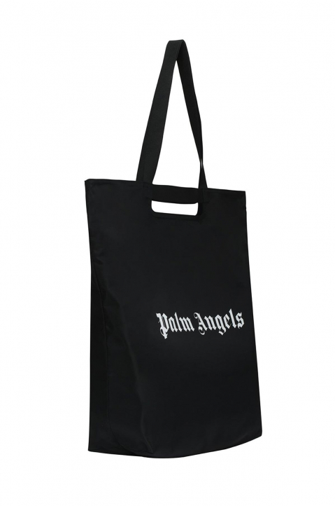 PALM ANGELS Black Logo Shopper Bag 1