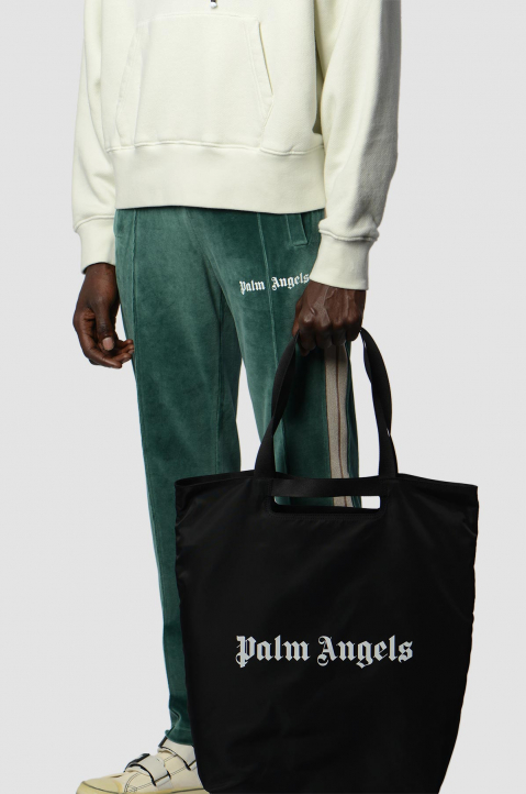 PALM ANGELS Black Logo Shopper Bag 3
