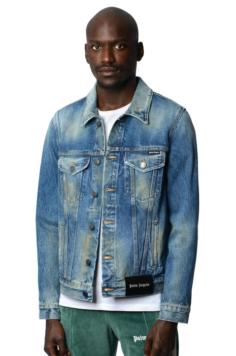 PALM ANGELS Collage Eagle Denim Jacket  0