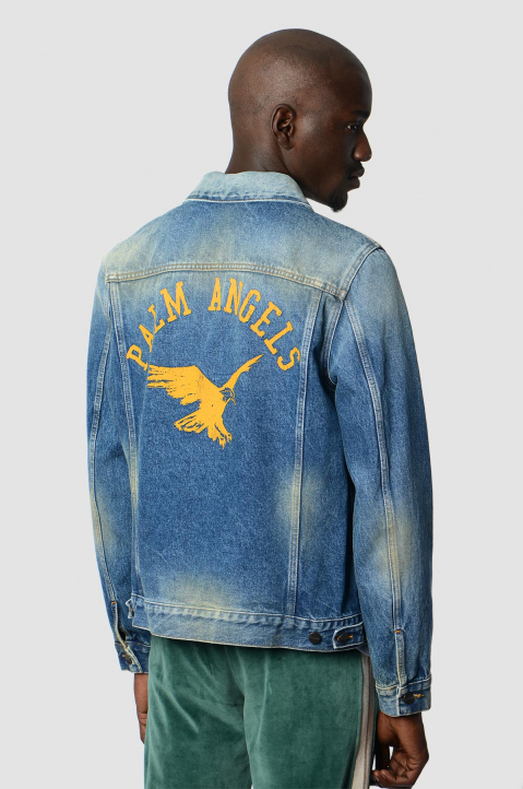 PALM ANGELS Collage Eagle Denim Jacket  1