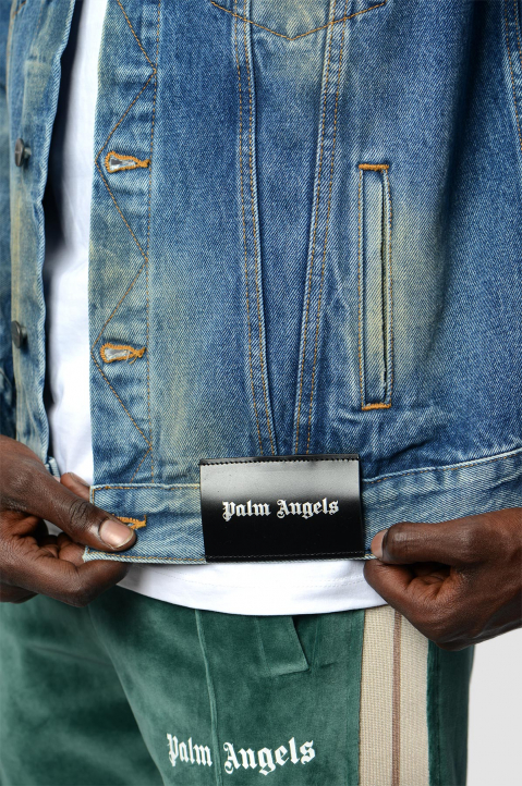 PALM ANGELS Collage Eagle Denim Jacket  2