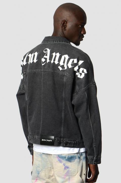 PALM ANGELS Logo Black Denim Jacket  1