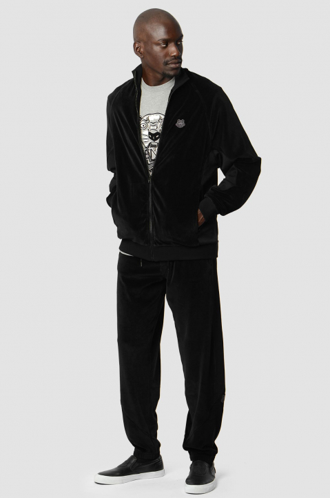 KENZO Black Cotton Velvet Trackpants 3