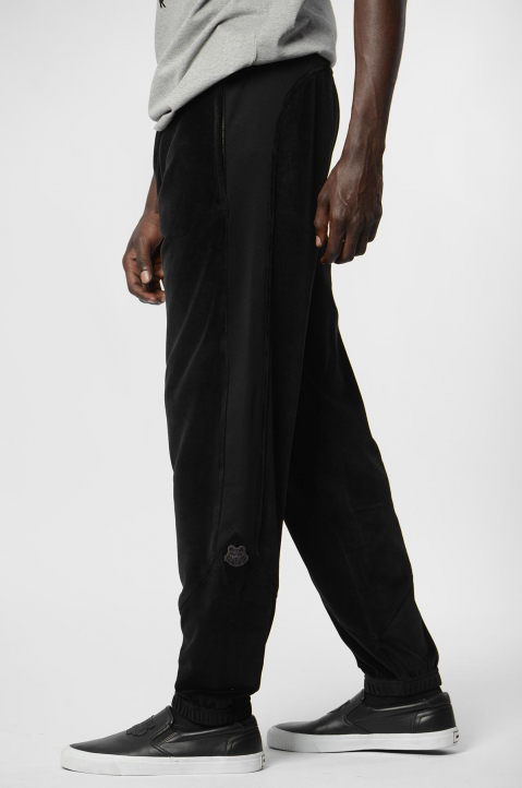 KENZO Black Cotton Velvet Trackpants 1