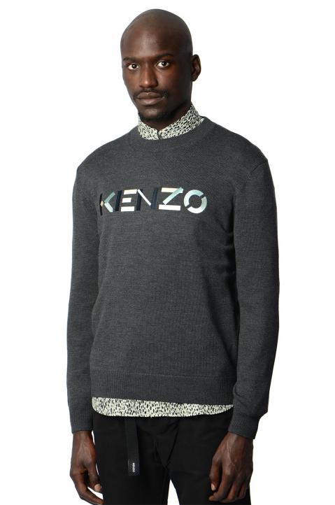 KENZO Logo Dark Grey Knit Sweater 0