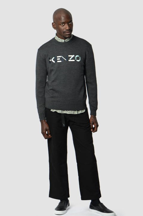 KENZO Logo Dark Grey Knit Sweater 3