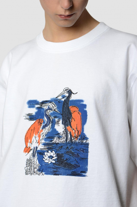 HERON PRESTON Herons Embroidery White Tee 2
