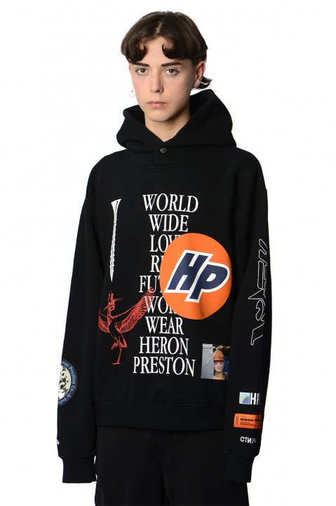 HERON PRESTON Collage Black Hoodie  0