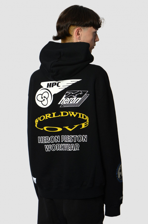 HERON PRESTON Collage Black Hoodie  1