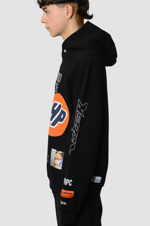 HERON PRESTON Collage Black Hoodie  3